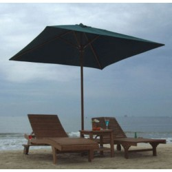 Twin Lounger With Parasol Set