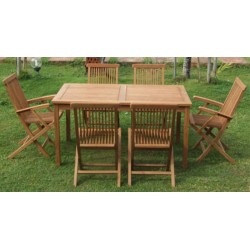 Square Garden Table Set 100x150x75 Cm