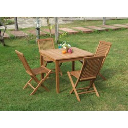 Square Garden Table Set 100x100x75 Cm