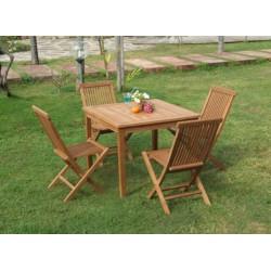 Square Garden Table Set 100x100x75 Cm