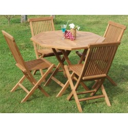 Octagonal Folding Table Set Ø  80 Cm