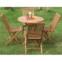 Round Folding Table Set Ø 80 Cm