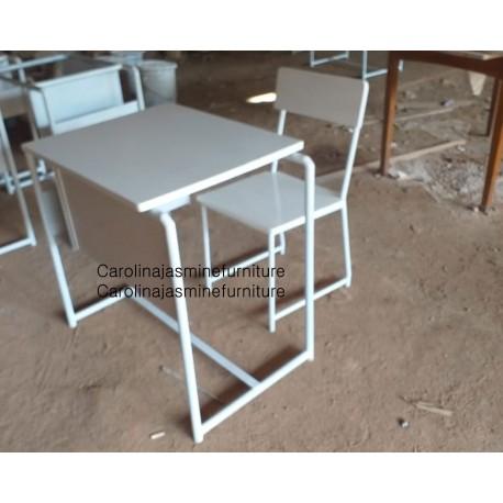 Meja Sekolah Besi White