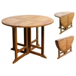 Teak round table victoria gateleg 100cm round