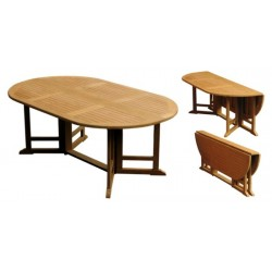 Teak patio table victoria gateleg 120x180 oval