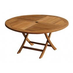 Teak outdoor table victoria easyfold 150cm round