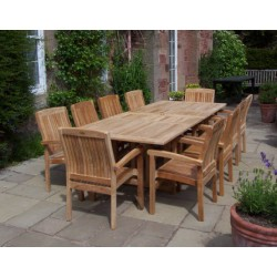 Teak set georgian ext. table set