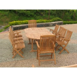 Teak garden furniture set georgian ext. table set